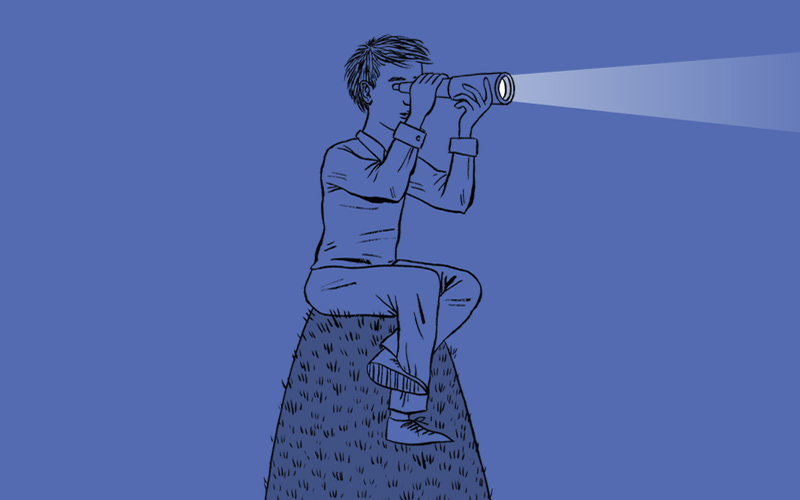 drawing of a boy sitting on a hill with a telescope