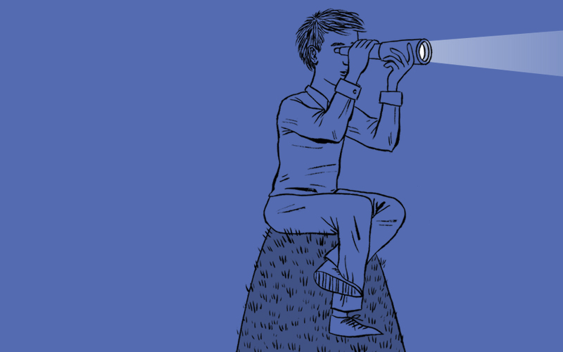drawing of boy sitting on a hill with a telescope