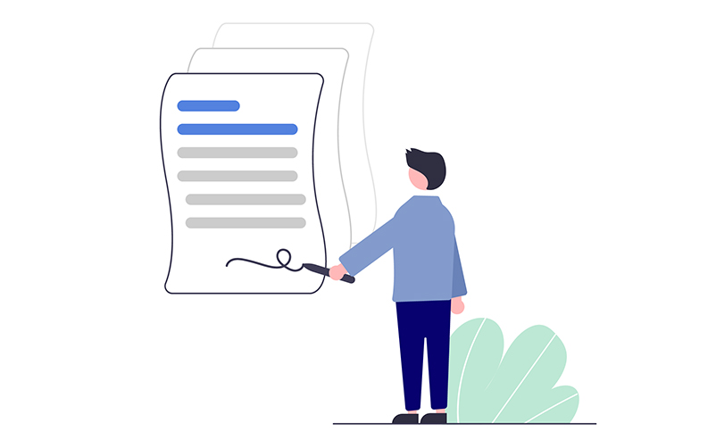 drawing of a person signing a big piece of paper