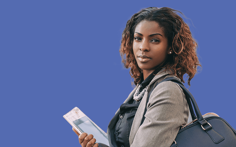 young woman holding some papers
