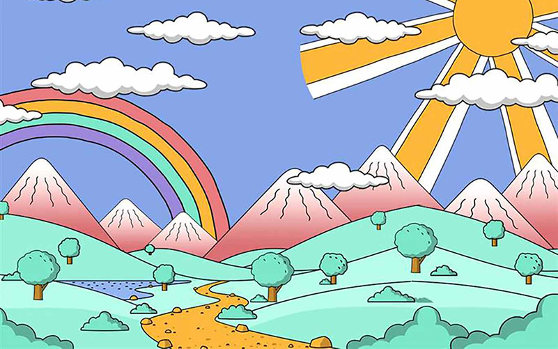 drawing of a colorful landscape with rainbows, trees, mountains and the sun