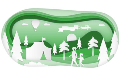 cut out illustration of people walking in nature