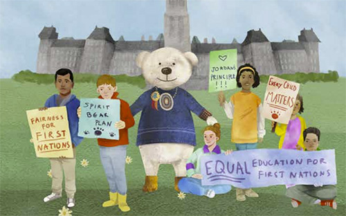 illustration of spirit bear with kids and signs in from of canadian parliament